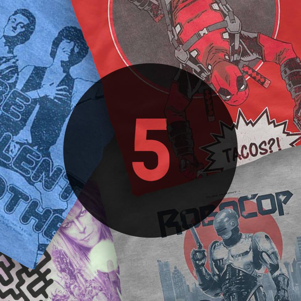 5er Pack Mystery Geek T-Shirts + Captain America Taschenbuch für 15,70€ (Zavvi)