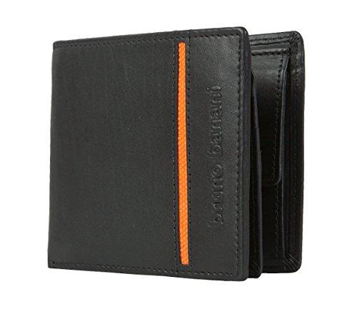 [Amazon Prime] Bruno Banani Herren Leder Portemonnaie  Black/Orange