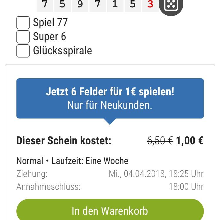 LOTTO spielen 6 Felder für 1€