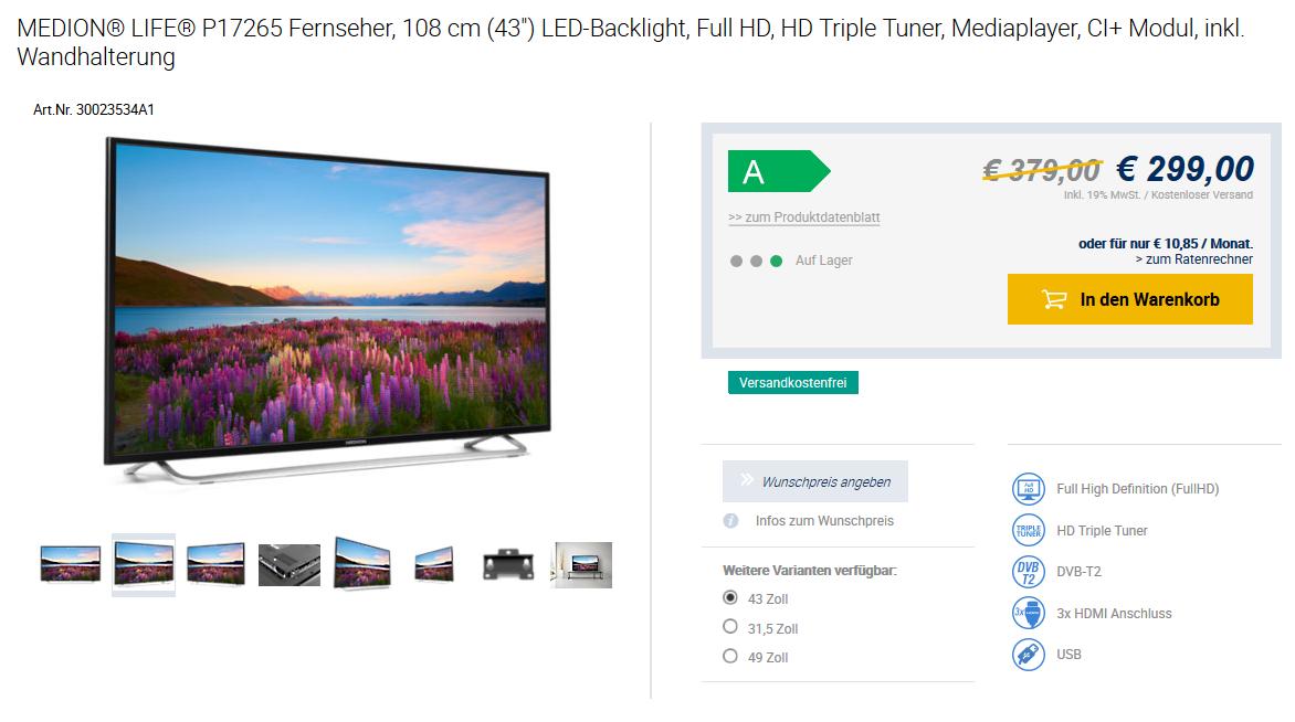 "MEDION® LIFE® P17265 Fernseher, 108 cm (43"") LED-Backlight, Full HD, HD Triple Tuner, Mediaplayer, CI+ Modul, inkl. Wandhalterung"