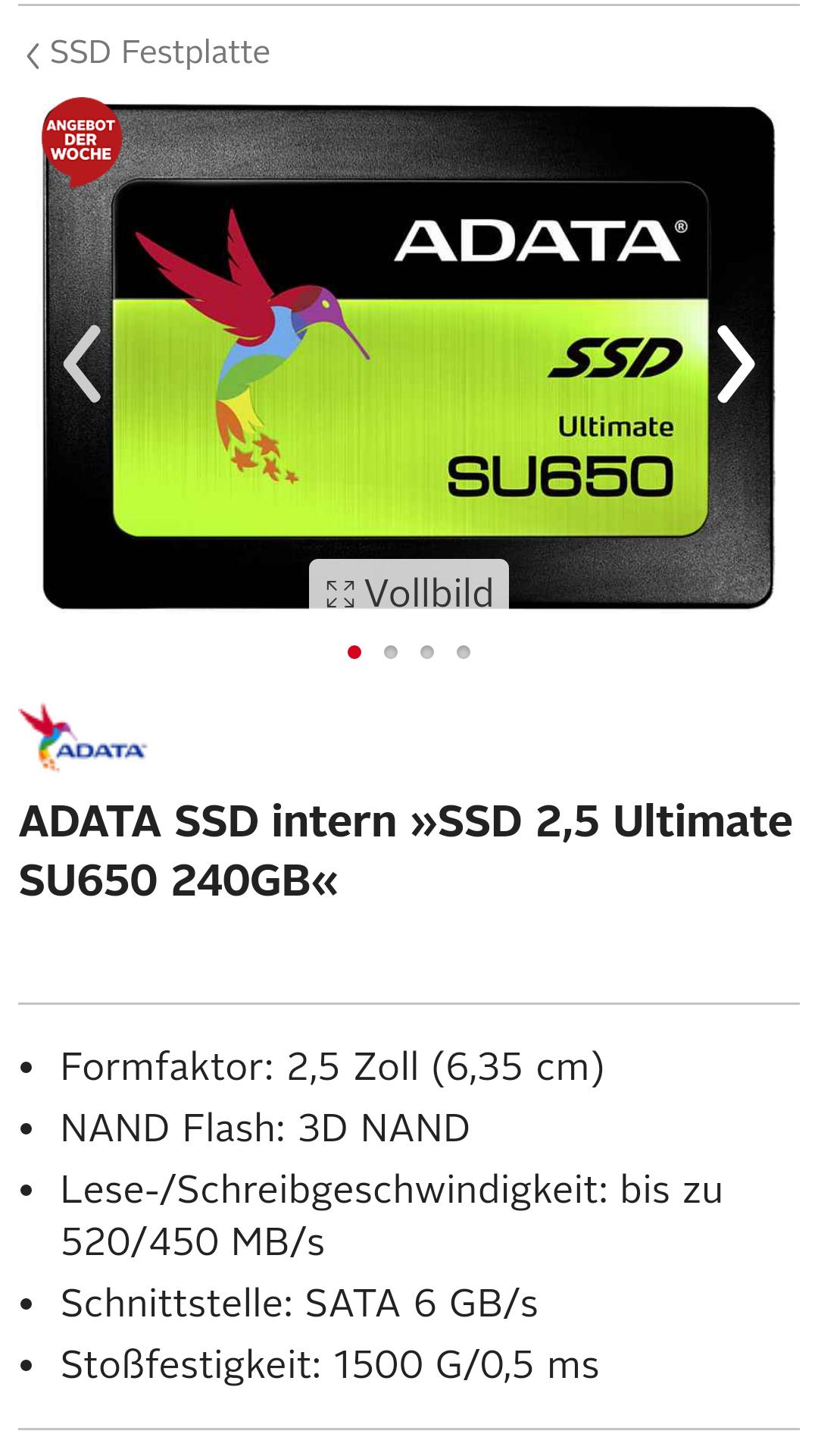 [OTTO-Neukunde] ADATA SSD Intern su650 240gb