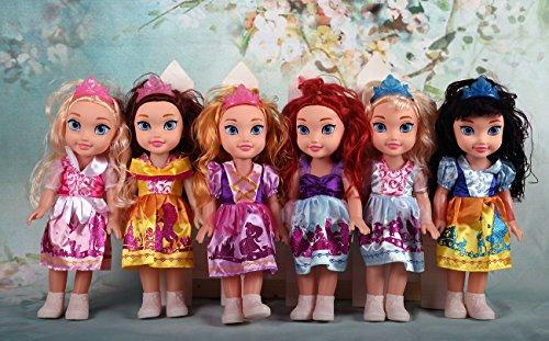 [AMAZON PRIME] Rapunzel Schneewittchen, Dornröschen, Arielle, Bella und Aschenputtel Prinzessinnen Puppe mit Puppenkleidung, 35 cm