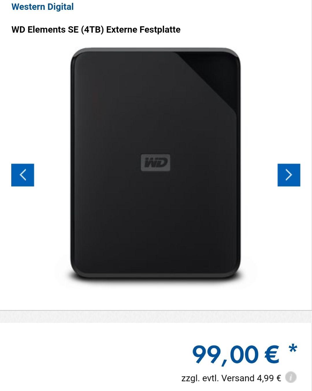 [Euronics XXL] WD Elements SE 4TB externe Festplatte 2,5 Zoll