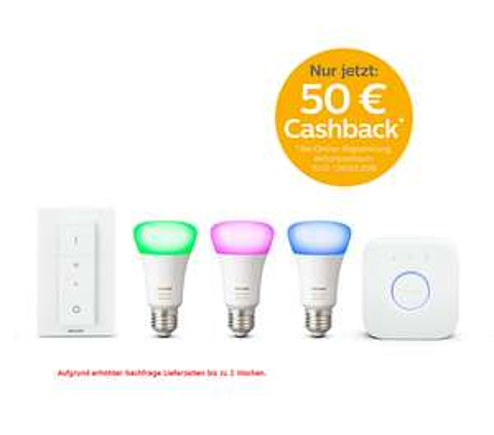 Philips Hue White und Color Ambiance E27 Starter Set, 3x E27 Lampen + Dimmer + Bridge 4. Gen