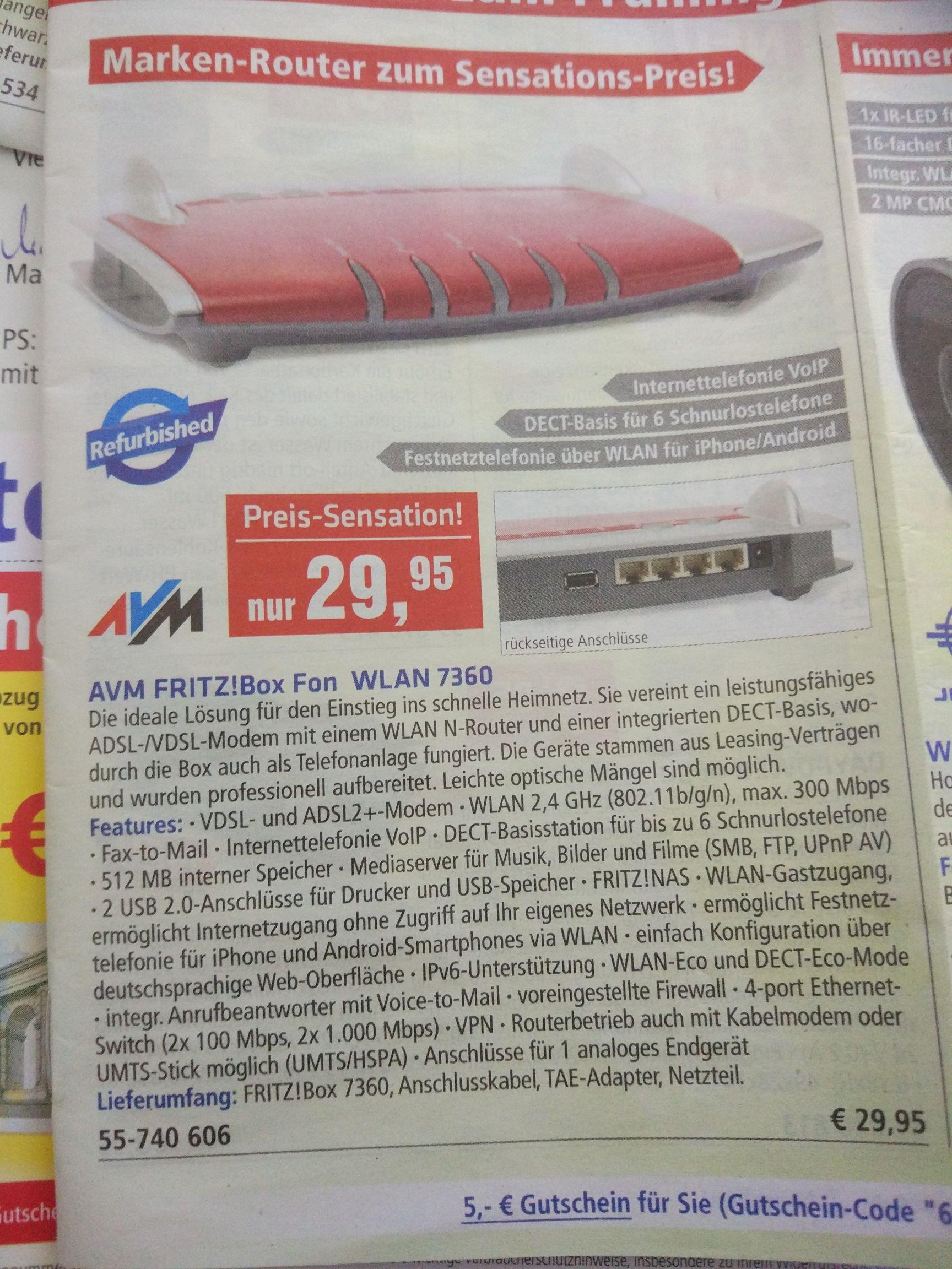 AVM FRITZ!Box 7360 (Refurbished) VDSL VoIP Modem Router bei Pollin