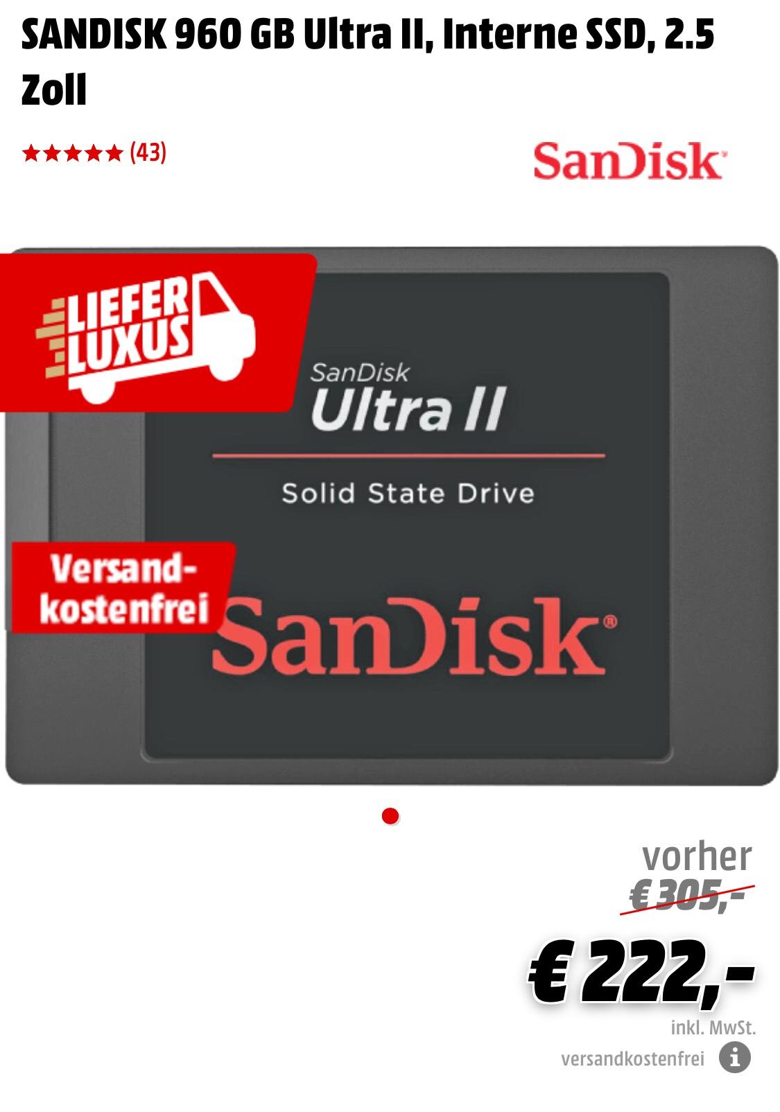 SANDISK 960 GB Ultra II, Interne SSD, 2.5 Zoll