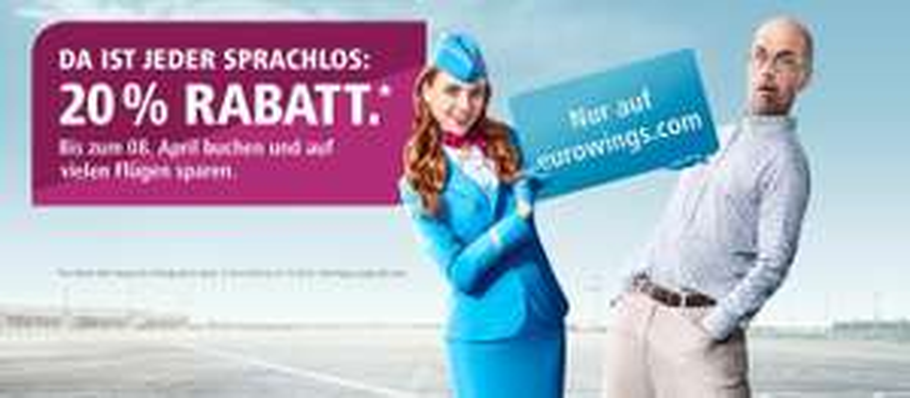 Ausgewählte Eurowings-Flüge 20 % günstiger [eurowings.com]