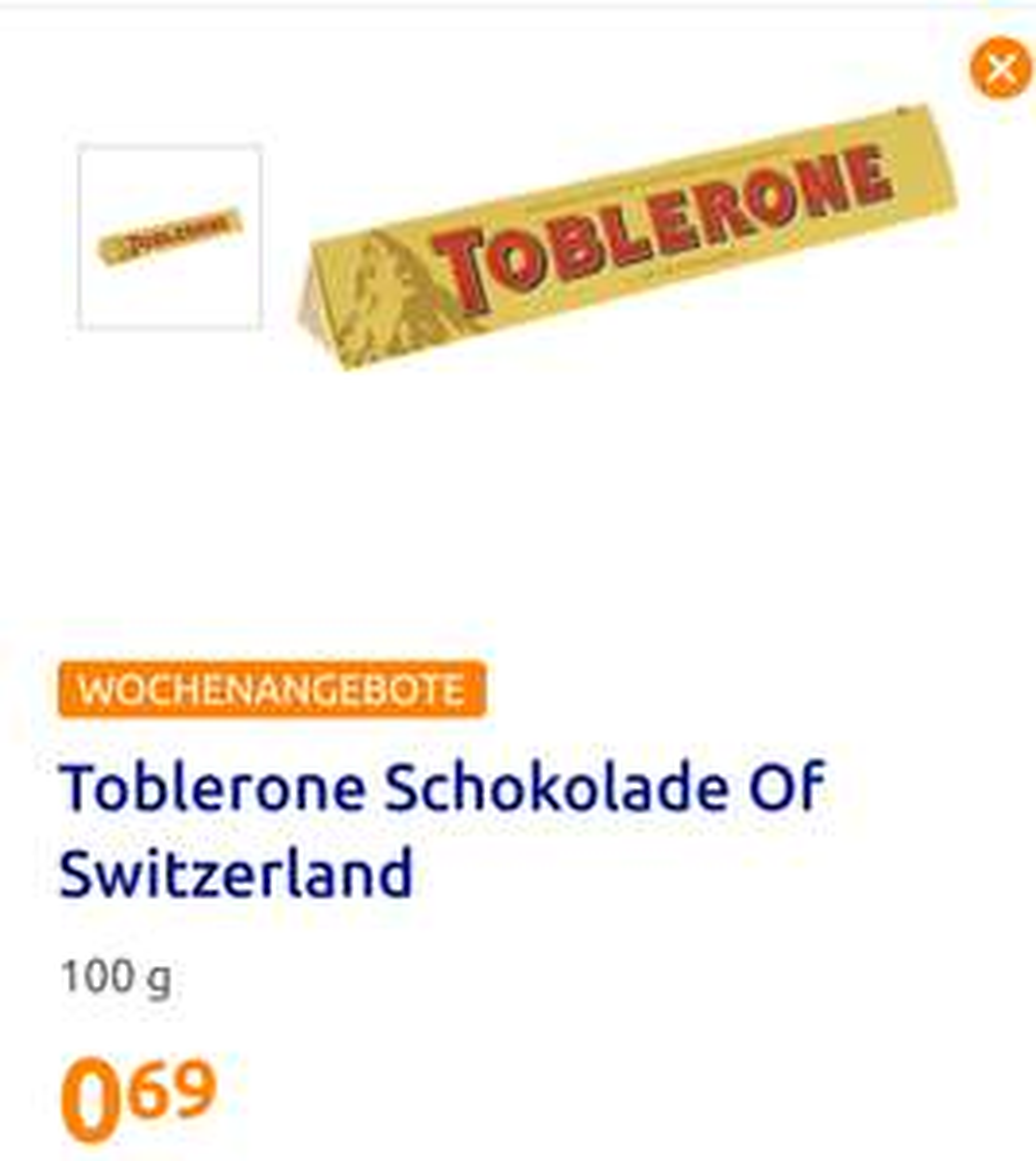 [Action] Toblerone 100g Milchschokolade oder Weiße Schokolade für 0,69€