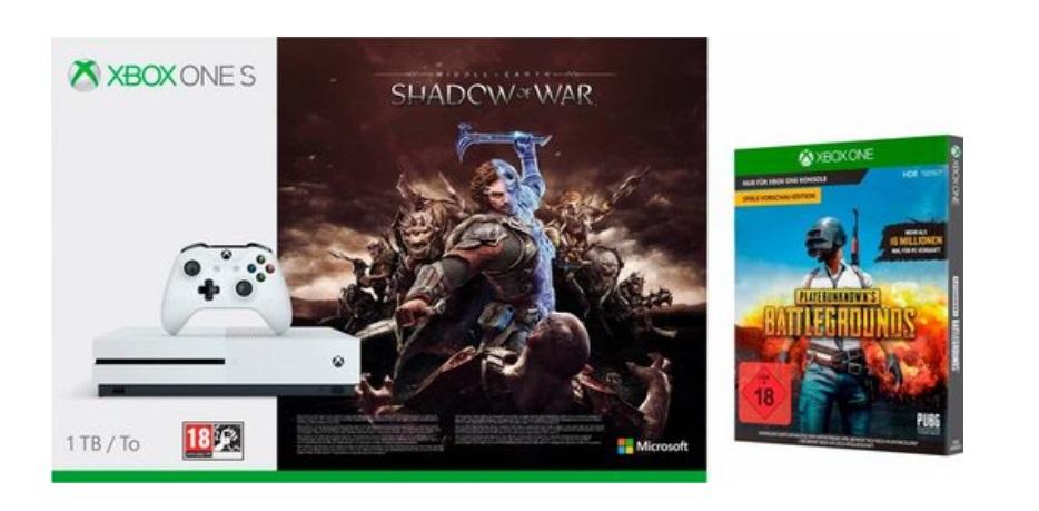 Xbox One S 1TB + Mittelerde: Schatten des Krieges + Playerunknown's Battlegrounds für 209,99€ [Neckermann]