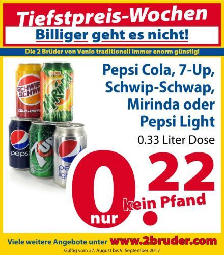 Die 2 Brüder von Venlo - Pepsi, 7-up, schwip schwap, mirinda, pepsi light Dosen