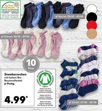 10x Paar Sneaker Socken Herren / Damen / Kinder (Kaufland)