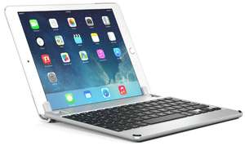 [cyberdeals@cyberport] Brydge 9.7 Aluminium-Keyboard-Dock (Hintergrundbeleuchtung, Bluetooth) für iPad Air / Air 2 / Pro / iPad 9.7 (2018) in silber, DE (BRY1011G)