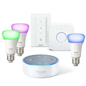 Echo Dot 2. Generation + Philips Hue White & Color Starterset E27 + 50 Euro Cashback möglich!!!