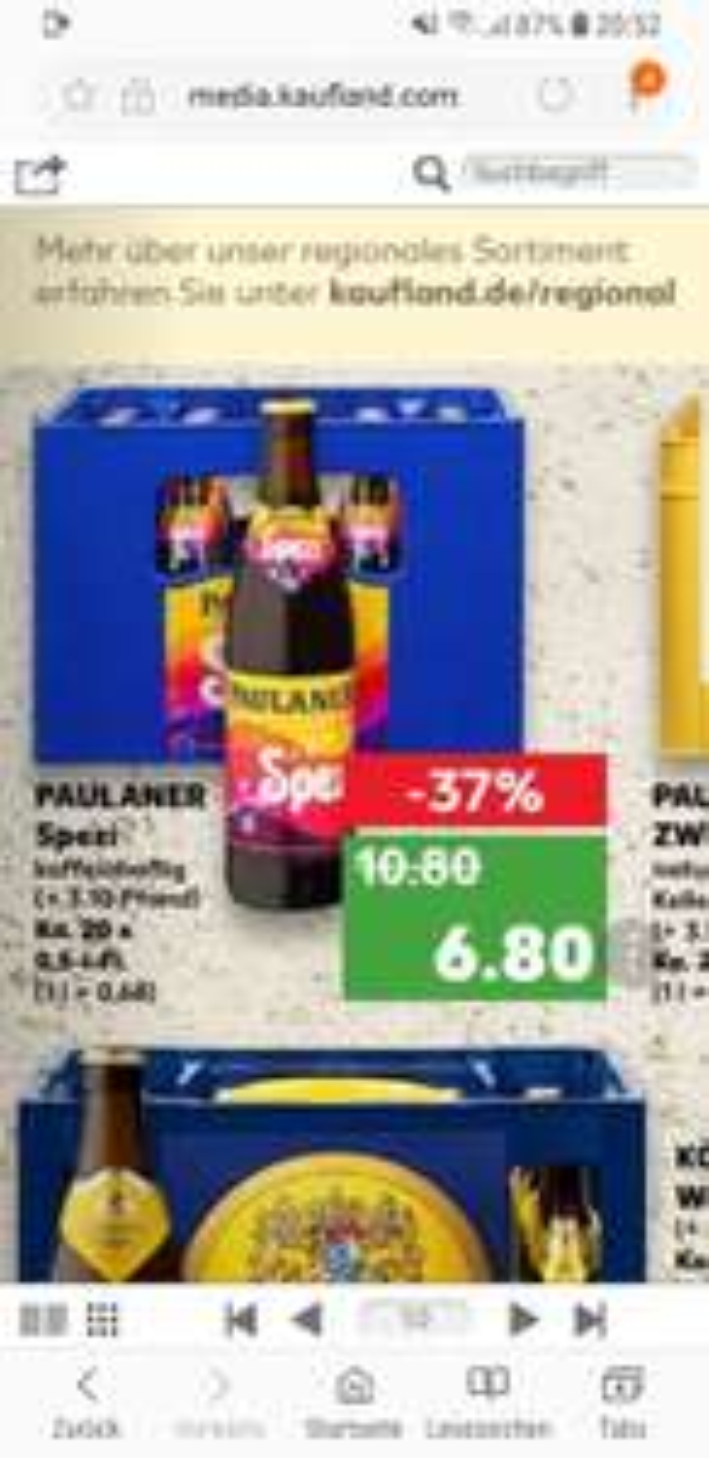 LOKAL ? Kaufland Paulaner Spezi Kasten für 6,80€