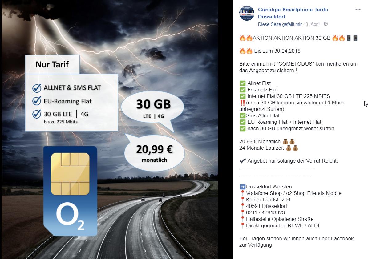 30GB LTE 225 Allnet / SMS Flat O2 24Monate 20,99€ (Düsseldorf)