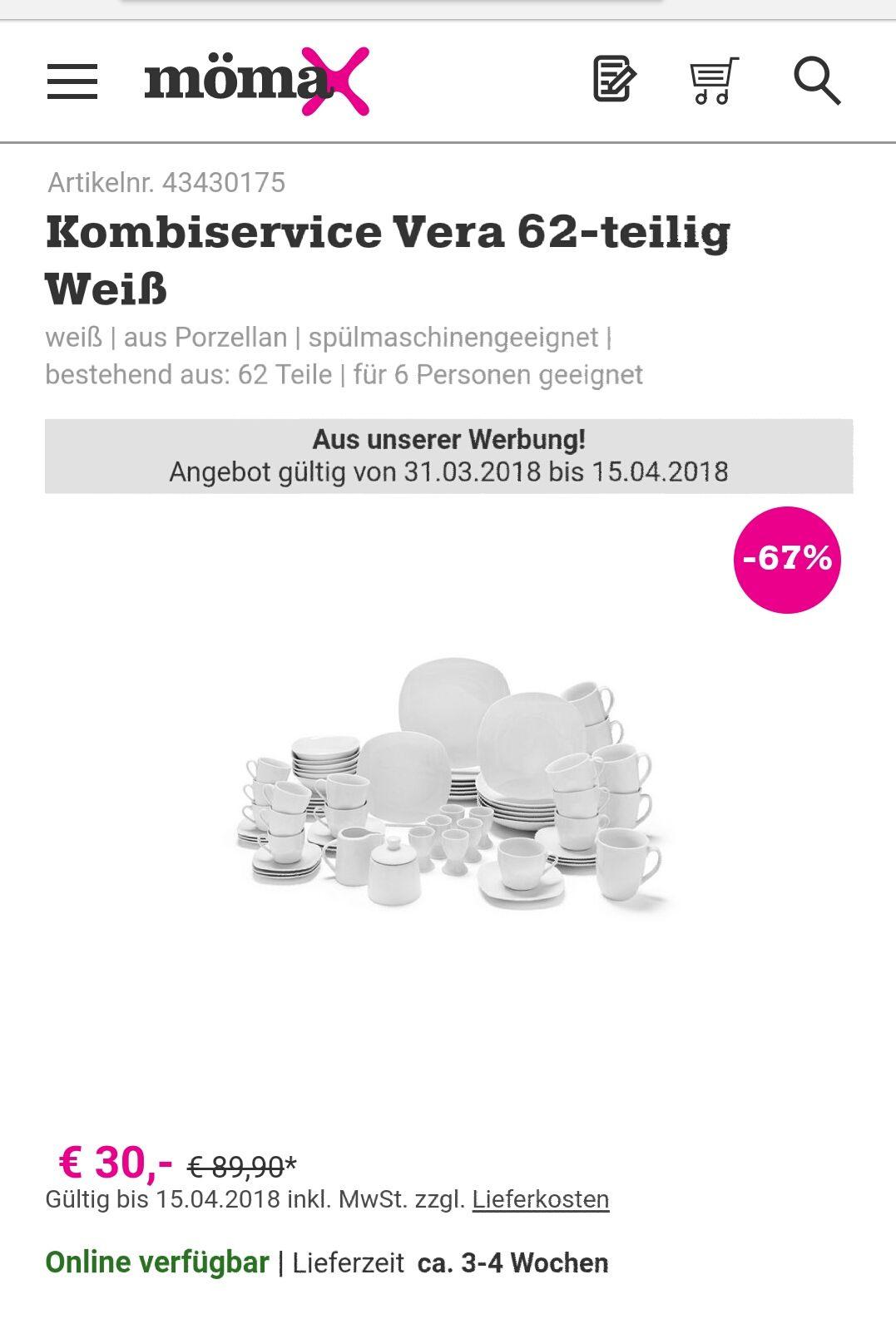 Vera 62-teilig Kombiservice