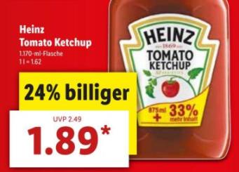 [LIDL] HEINZ Tomato Kechup 1170ml ab 09.04.