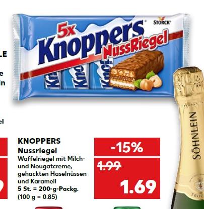5er Pack Knoppers NussRiegel für 1,69€ ab 16.04.18 bei Kaufland