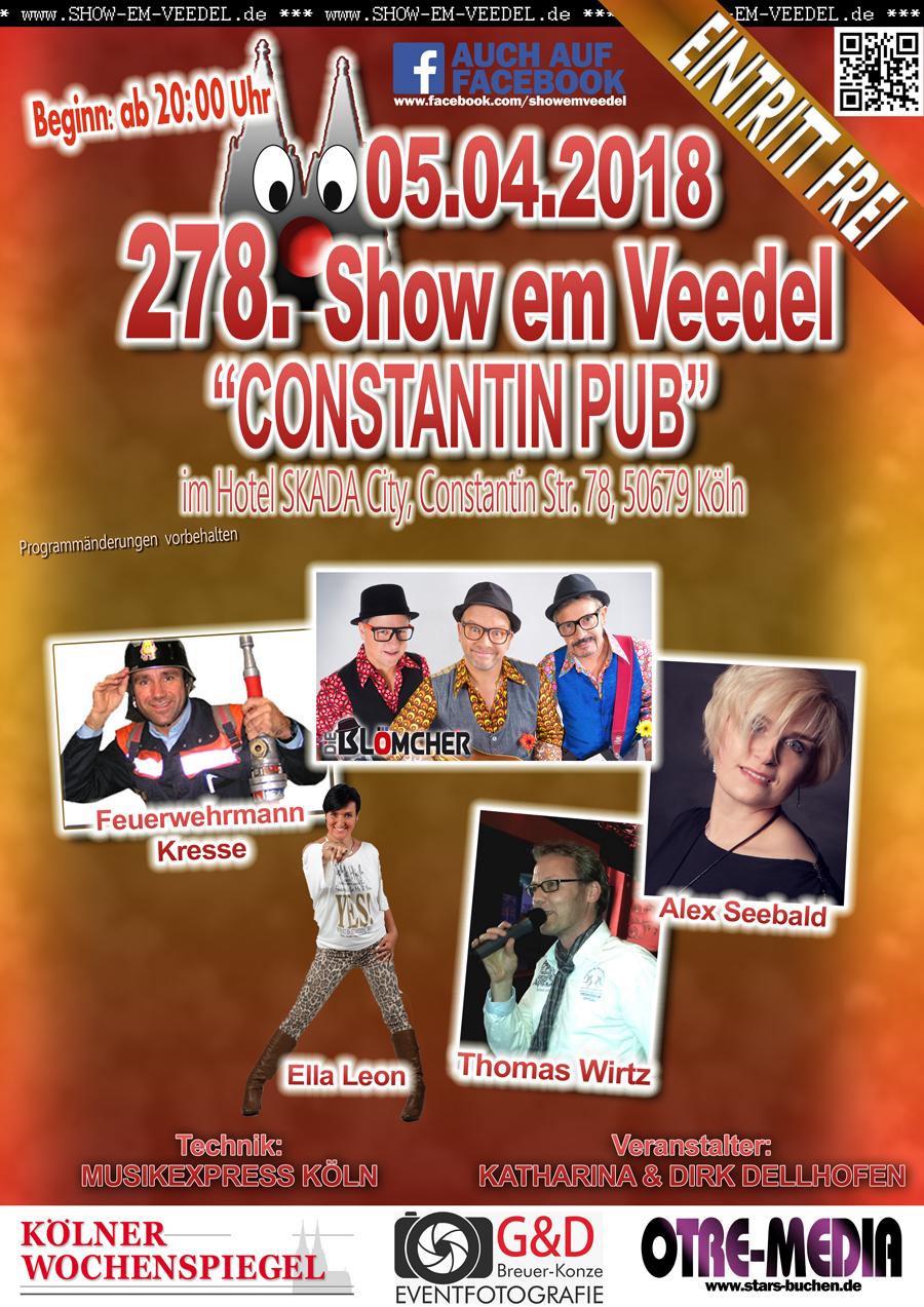 Heute Köln - 278. Show em Veedel - 05.04.2018 - 20 Uhr - Eintritt frei