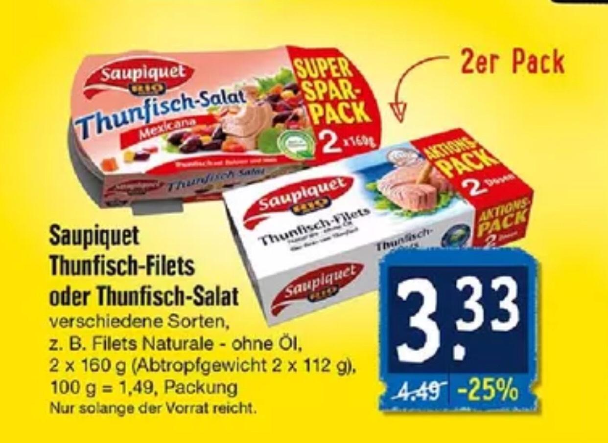 Saupiquet 2er Pack Thunfisch-Salat/Filets im Angebot 3,33€ (Edeka)