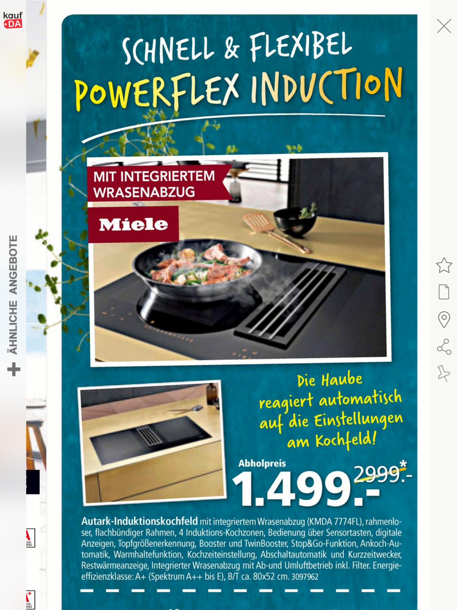 Miele Induktionskochfeld mit Absaugung KMDA7774 FL