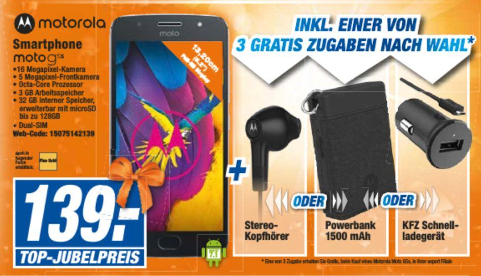 [Expert Technikmarkt Filialen] Motorola Moto G5S Smartphone (13,2 cm (5,2 Zoll), 3 GB RAM, 32 GB, Android) inc. einer Gratiszugabe (Kopfhörer,Powerbank oder KFZ Ladegerät) für 139,-€
