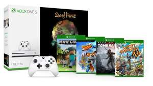 Xbox One S 1TB + 2. Controller + Sea of Thieves + Rise of the Tomb Raider + Minecraft Explorers + Sunset Overdrive + Super Lucky's Tale + 1 Monat GamePass für 299€ (Microsoft FR)