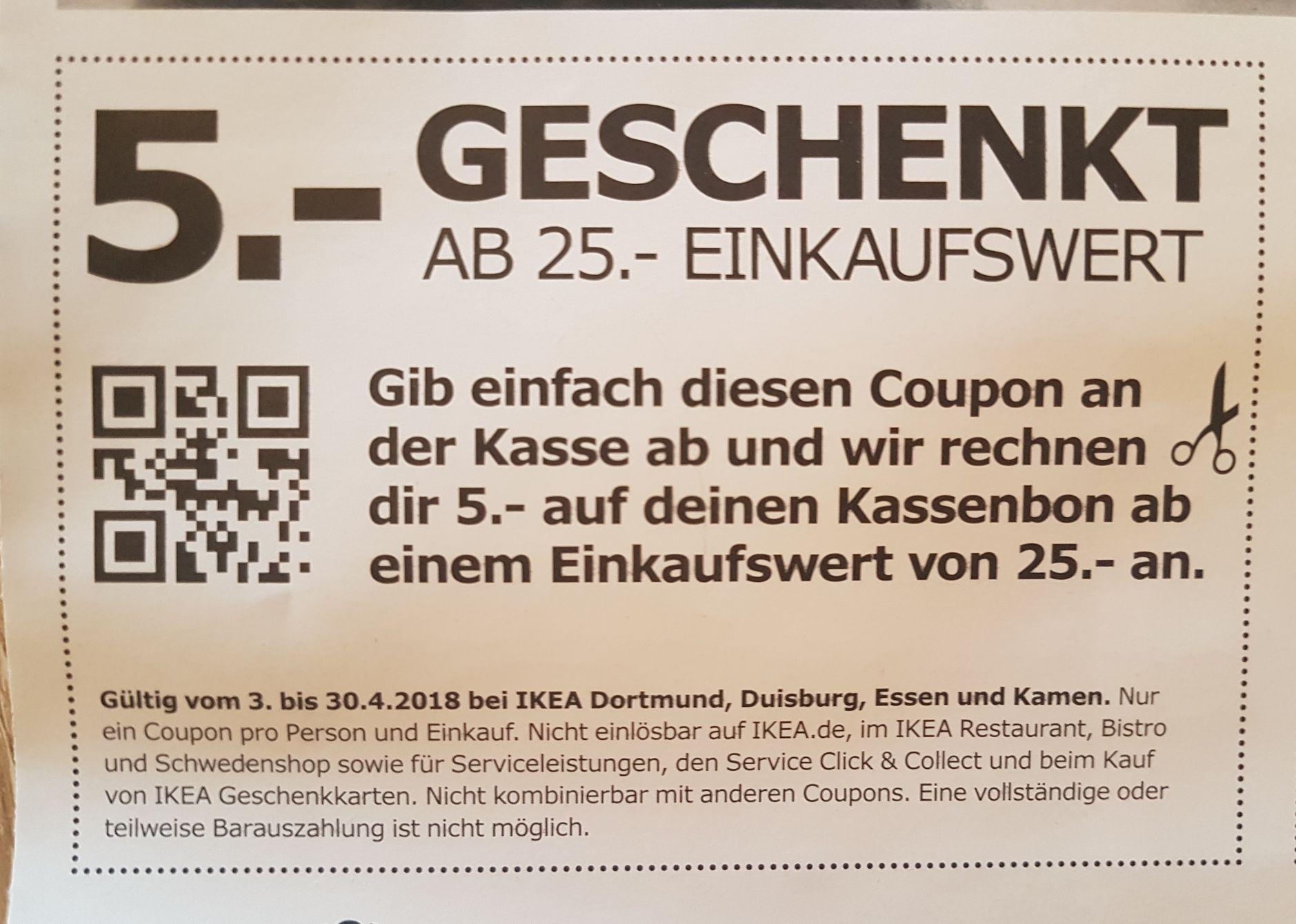 [Ikea] Lokal Dortmund, Duisburg, Essen und Kamen. 5€ Geschenkt ab 25€ Einkaufswert.