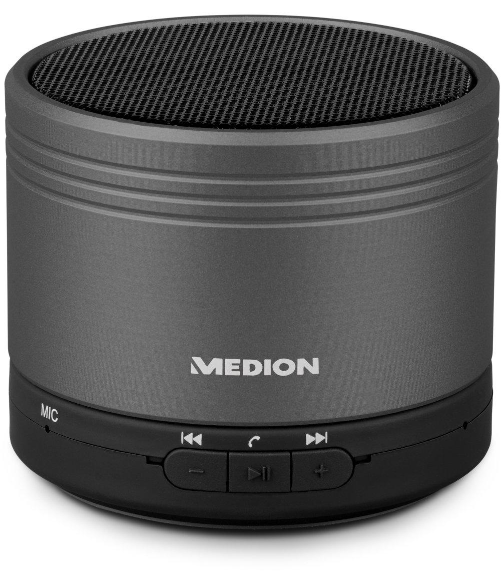 [Medion] MEDION® LIFE® E61037 Bluetooth Lautsprecher mit Freisprech Funktion, AUX Eingang, 28 Watt max. Musikausgangsleistung (2,8 W RMS), titan/champagner/schwarz