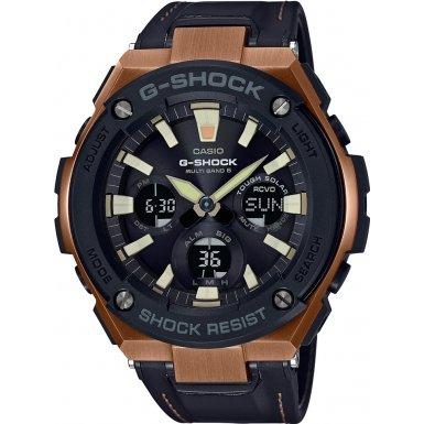 Casio Herren Uhr Multi-Zifferblatt Quarz mit Lederarmband GST-W120L-1AER