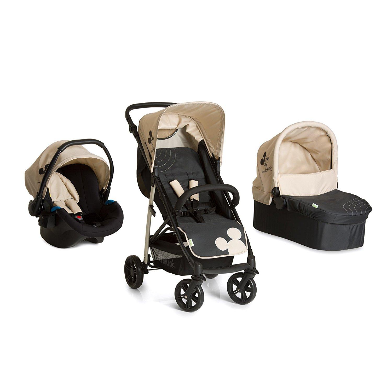 Hauck Kombi Kinderwagen Set 3 in 1, Rapid 4 Plus Trio Set Disney, inkl. Babyschale, Kinderautositz Gruppe 0 für Isofix Base, leicht, ab Geburt bis 22 kg, schwarz beige (Mickey Charcoal)