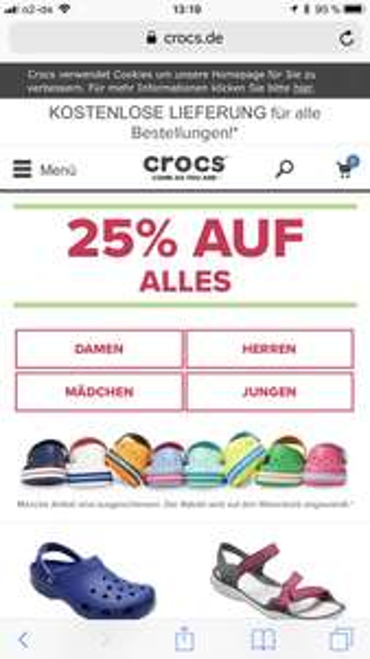 25% auf alles bei Crocs.de