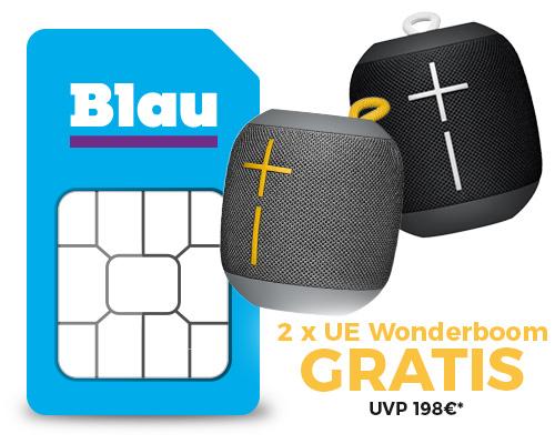 [Handyflash / Blau.de] Blau Allnet XL Allnet Flat mit 5GB LTE bis zu 21,6 Mbit/s für 14,99€ mtl. + 2x UE Wonderboom gratis