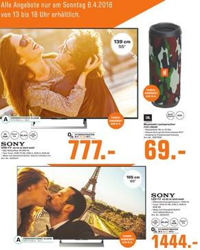 (Lokal) Nur am Sonntag: Z.B. Sony KD55XE8505 für 777,00 € / Sony KD65XE9005 für 1444,00 € und weitere Angebote @ Saturn Bielefeld