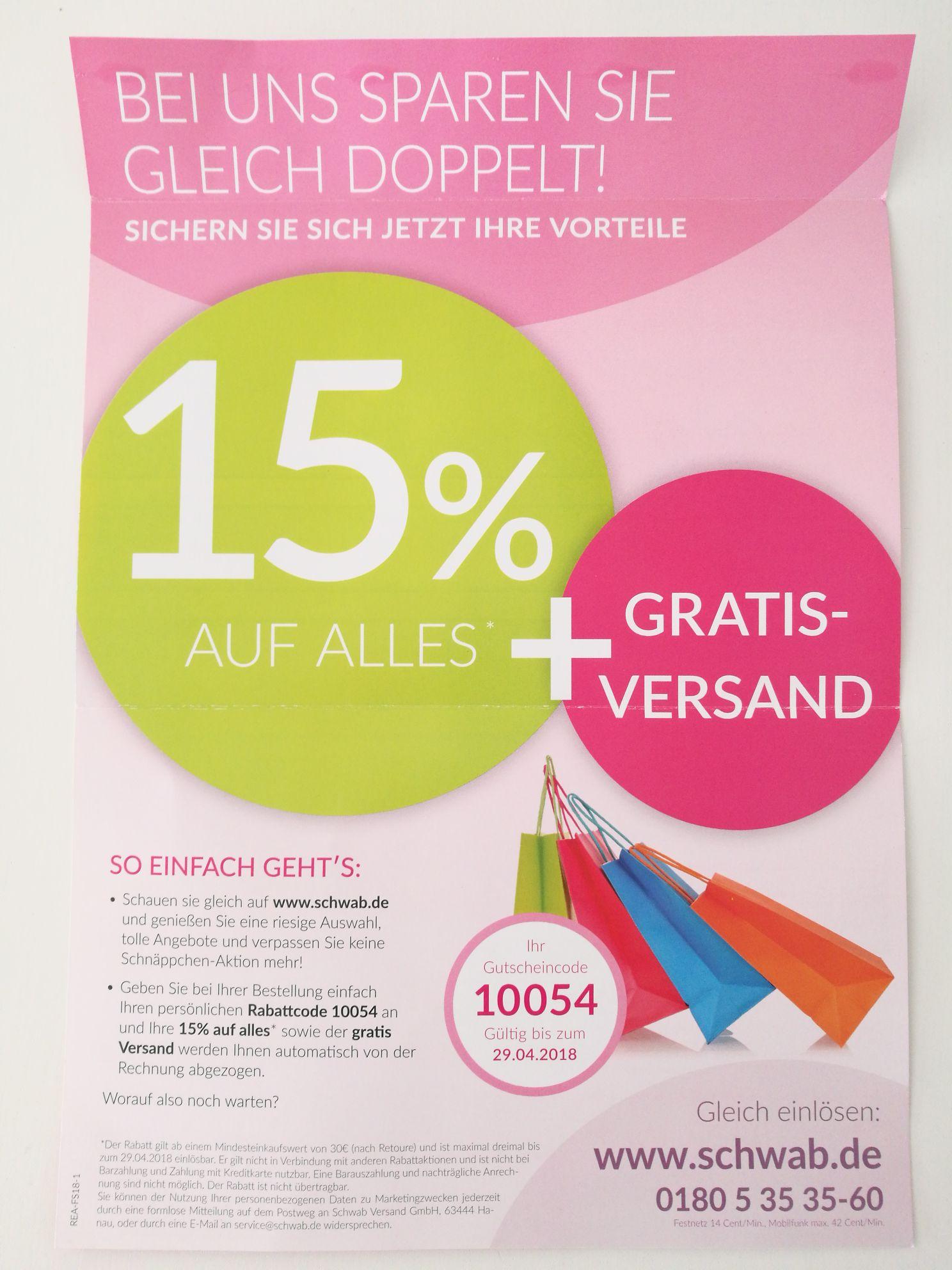 15% auf alles und gratis Versand [30€ MBW]