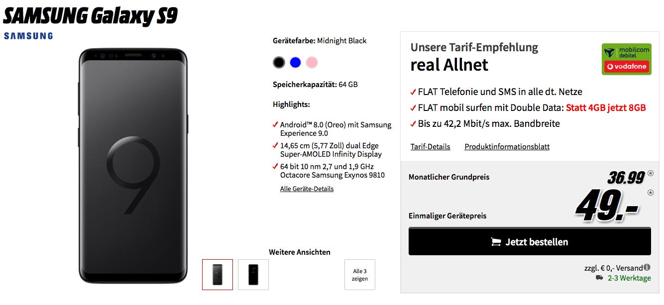 Samsung Galaxy S9 für einmalig 49 € zusammen im mobilcom debitel Tarif für monatlich 36,99 €. Tarifauswahl zwischen Vodafone ( 8 GB Mobiles Internet ohne LTE) und Telekom ( 4GB Mobiles Internet ohne LTE) möglich.