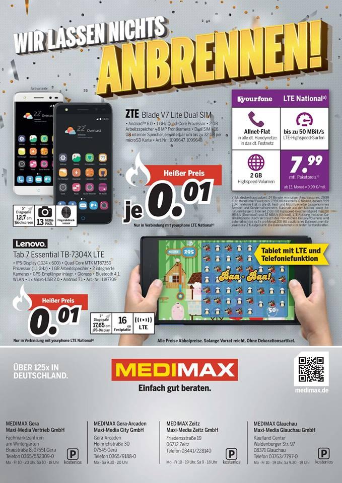 Smartphone oder Tablet für 0,01€