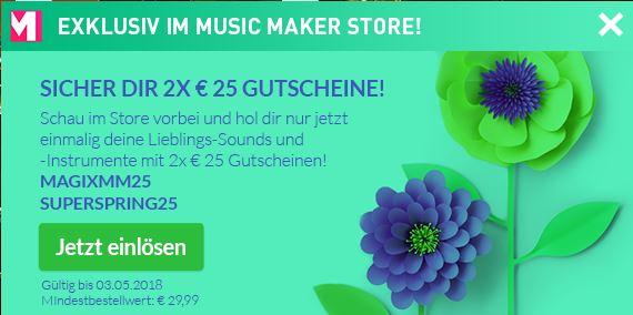 Magix Music Maker 2x 25€ Gutschein MBW: 29,99€