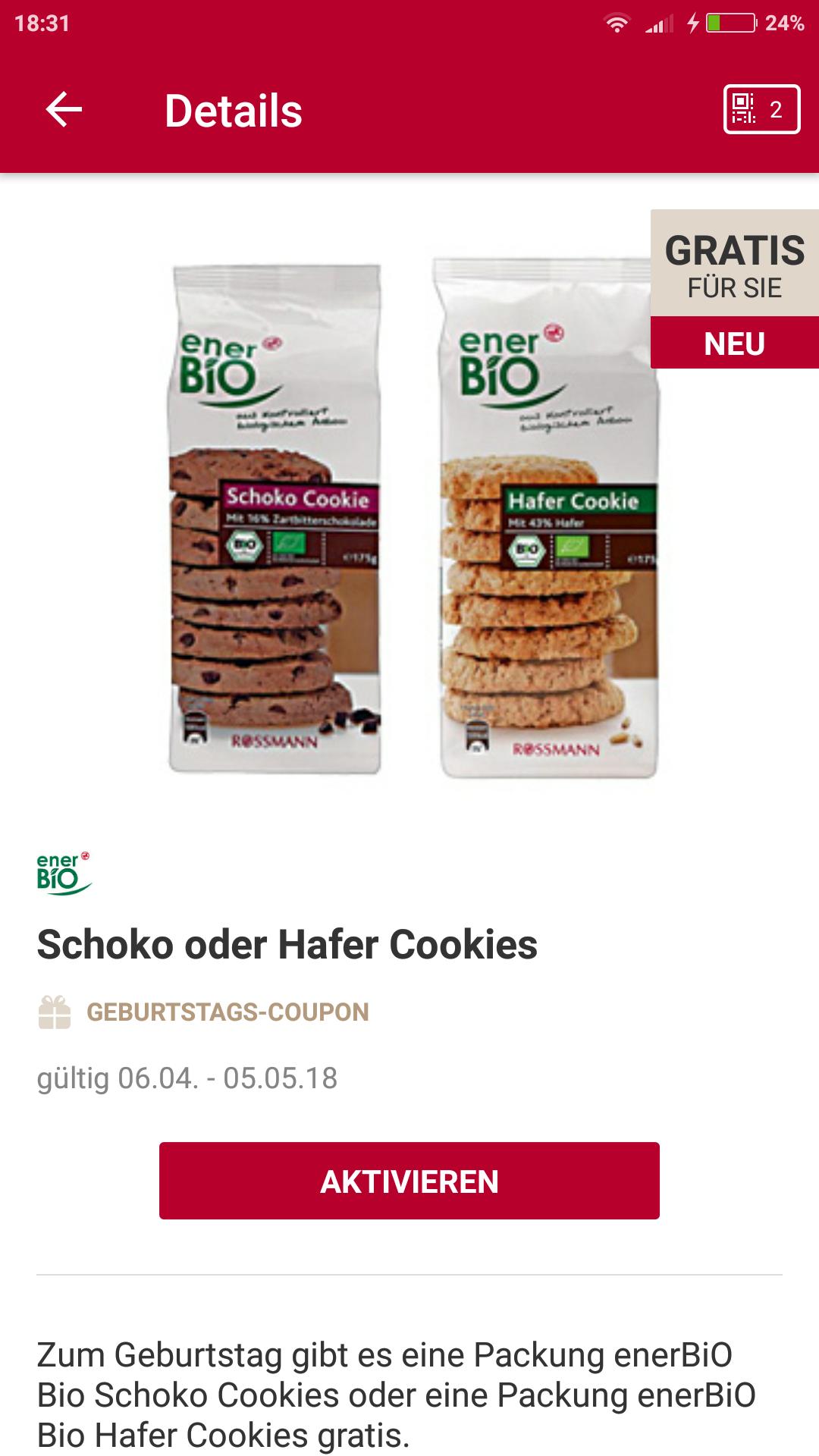 Gratis Schoko oder Hafer Cookies bei Rossmann für App-Neukunden