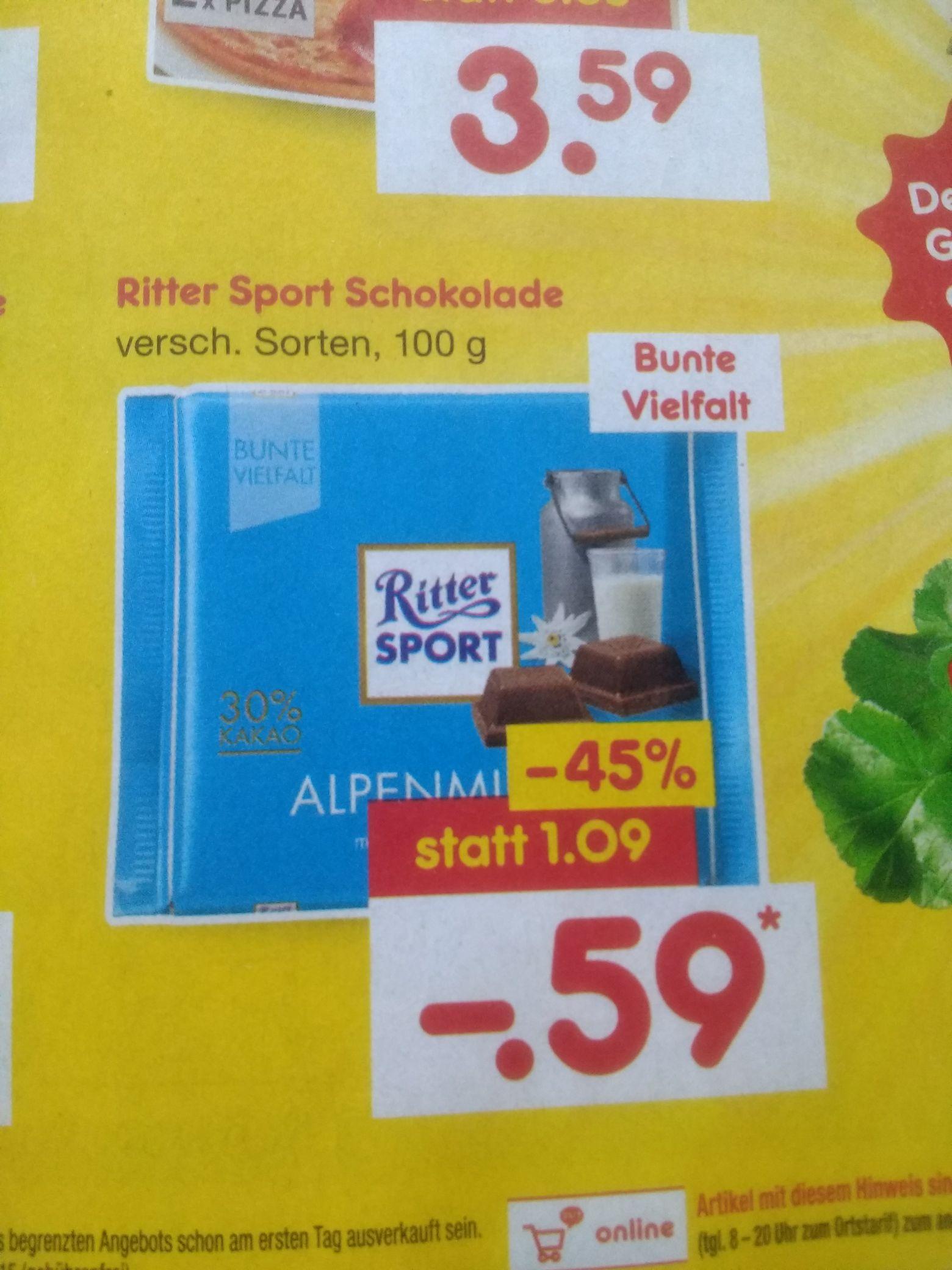 Netto (ohne Hund): Ritter Sport Schokolade 0,59€