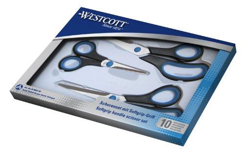[AMAZON Plusprodukt] Westcott N-90027 00 Easy Grip Scheren Set, 3 Stück, 13cm + 21cm + 25 cm, schwarz-blau