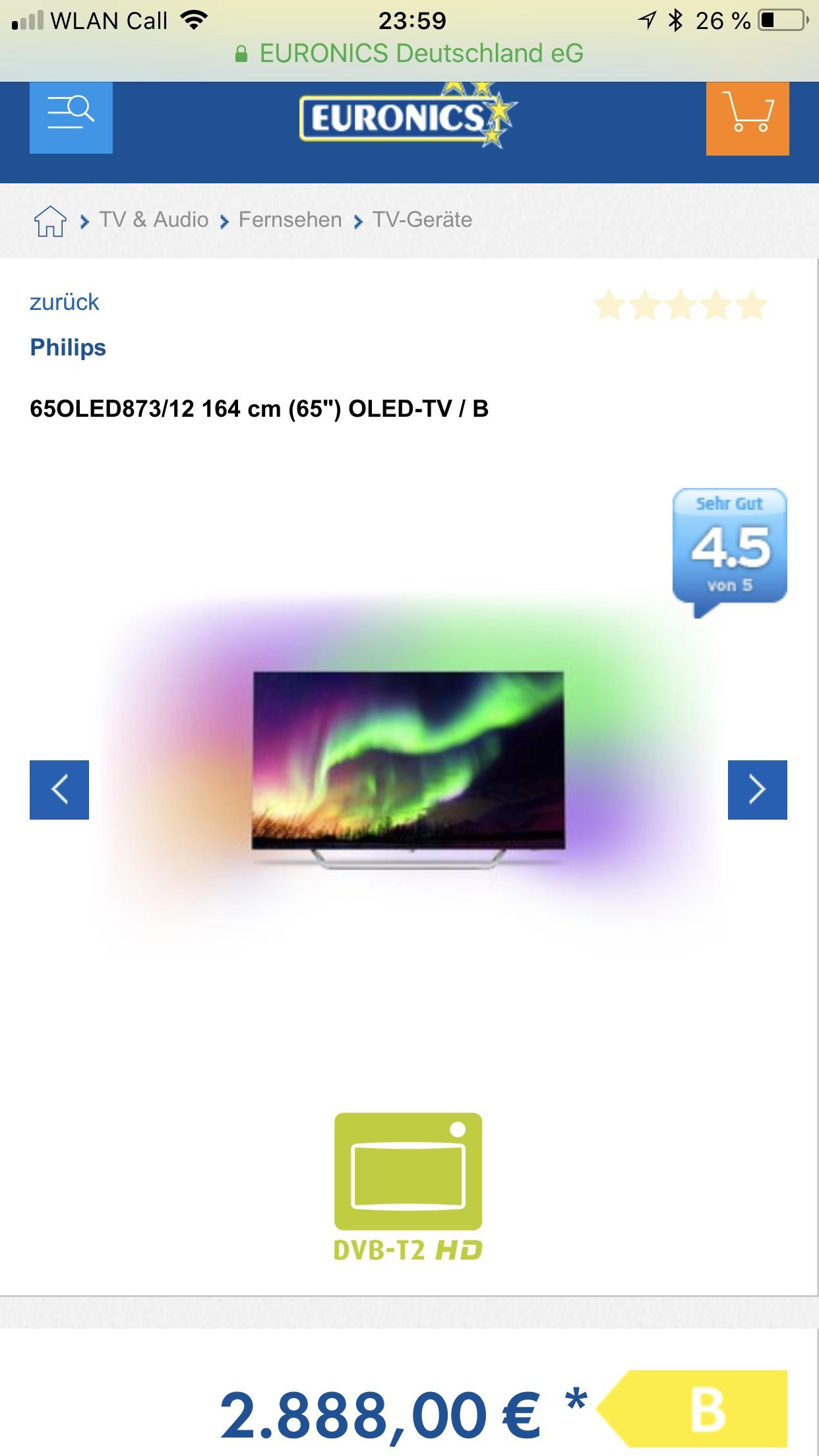 "65OLED873/12 164 cm (65"") OLED-TV 2888€ UVP 3499€"