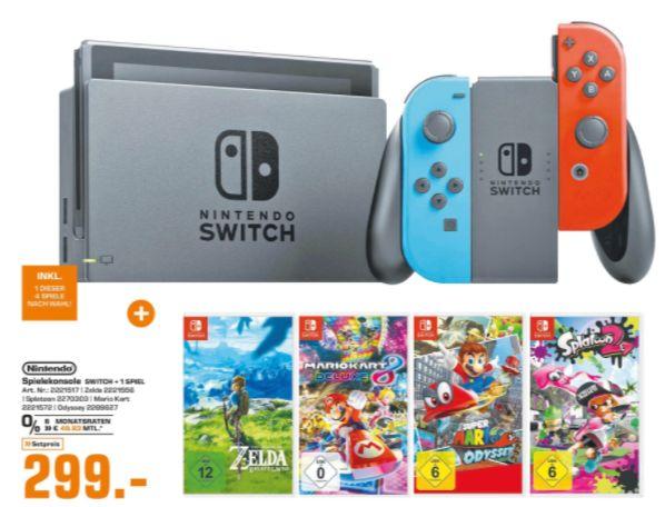 [Regional Saturn Bad Oeynhausen/Herford ab 11.04] Nintendo Switch Neon-Rot/Neon-Blau inc.1 Spiel nach Wahl (Auswahl aus 4) wie zb. The Legend of Zelda: Breath of the Wild für 299,-€