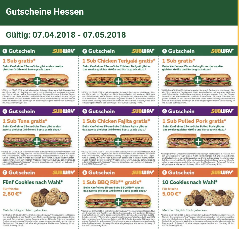 [Hessen] Subway Gutscheine 07.04.- 07.05.