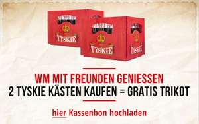 Zwei Kästen Tyskie kaufen = 1 Trikot (Polen) gratis geschickt bekommen