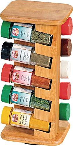 ( Amazon Prime ) Kesper Gewürzkarussell mit 10 Gefüllten Gewürzgläsern 110 ml, Holz, braun, 15 x 13 x 32.5 cm