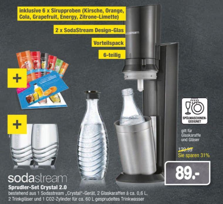[Regional Marktkauf Mannheim] SodaStream Crystal 2.0 titan mit 2 Glaskaraffen & Zylinder + 2 Gläser + 6 Sirupproben für 89,-€