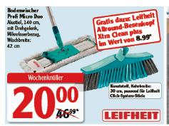 Deutschlandweit? Globus - Leifheit Bodenwischer Profi Micro Duo + Besenkopf Xtra Clean plus