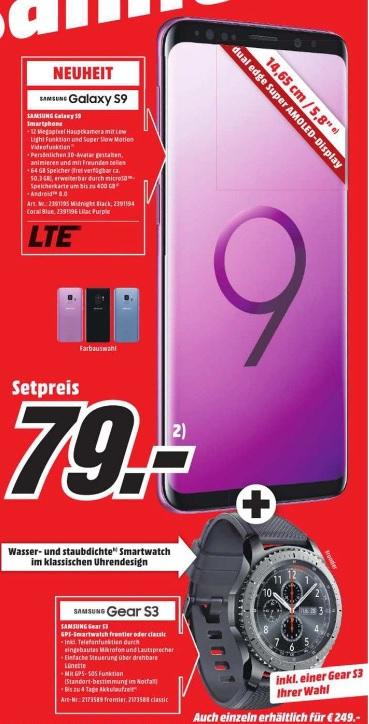 [ München Media Markt ] SAMSUNG Galaxy S9 64 GB + Gear S3 im mobilcom-debitel Vodafone Allnet 8GB Tarif für 36,99€ monatlich + 39,99 Anschlußgebühr + 79€ Anzahlung (effektiv 7,36€ mtl für den Tarif durch Verkauf der Hardware)