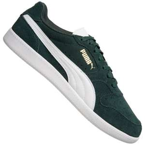Grüne PUMA Icra Trainer SD Leder Sneakers